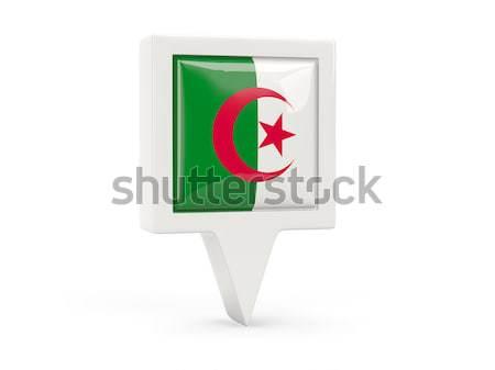 Carré métal bouton pavillon Algérie isolé Photo stock © MikhailMishchenko