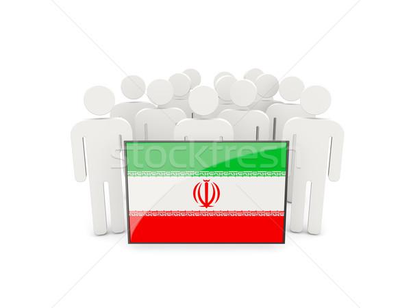 Stock fotó: Emberek · zászló · Irán · izolált · fehér · tömeg