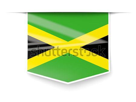 Praça metal botão bandeira Jamaica isolado Foto stock © MikhailMishchenko