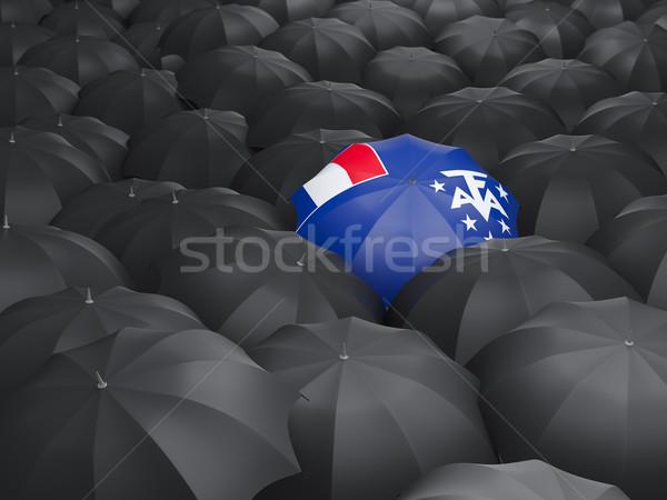 Esernyő zászló francia déli fekete esernyők Stock fotó © MikhailMishchenko
