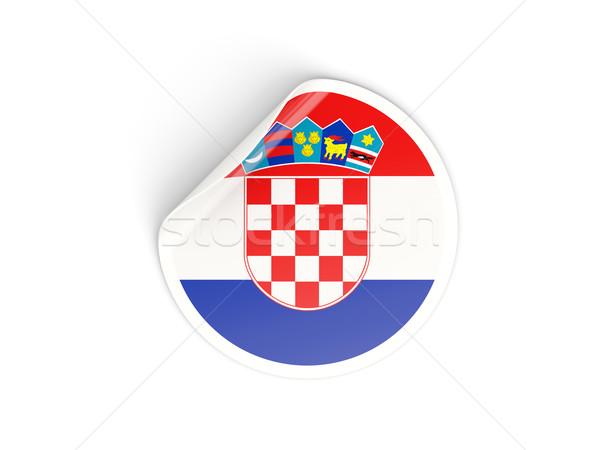 Etiqueta bandera Croacia aislado blanco viaje Foto stock © MikhailMishchenko