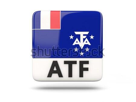 квадратный Label флаг французский южный изолированный Сток-фото © MikhailMishchenko