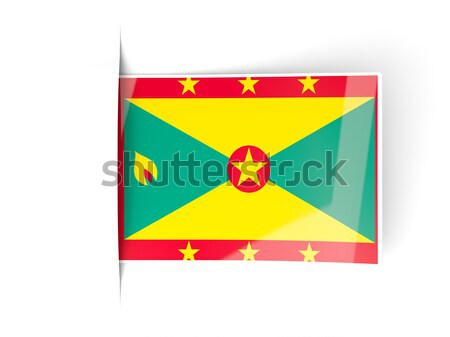 Vierkante label vlag Grenada geïsoleerd witte Stockfoto © MikhailMishchenko