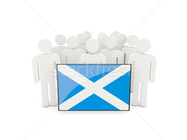 Mensen vlag Schotland geïsoleerd witte menigte Stockfoto © MikhailMishchenko