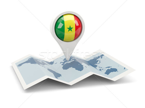 Pin bandiera Senegal mappa viaggio bianco Foto d'archivio © MikhailMishchenko