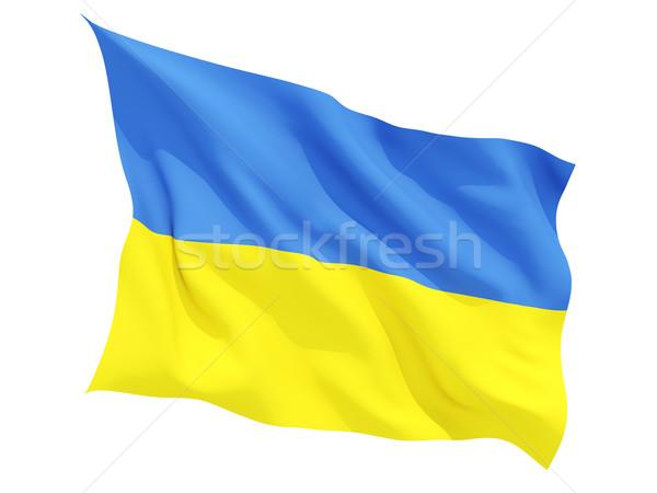 Bandeira Ucrânia isolado branco Foto stock © MikhailMishchenko