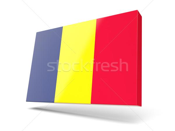 Cuadrados icono bandera Chad aislado blanco Foto stock © MikhailMishchenko