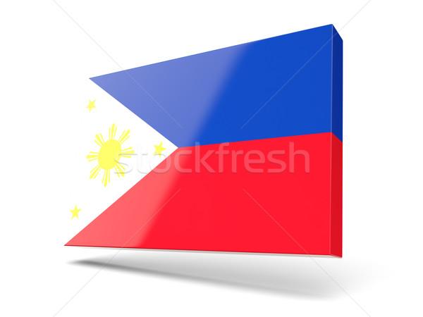 Tér ikon zászló Fülöp-szigetek izolált fehér Stock fotó © MikhailMishchenko