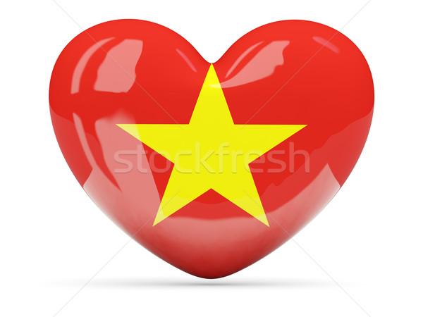 Kalp ikon bayrak Vietnam yalıtılmış Stok fotoğraf © MikhailMishchenko
