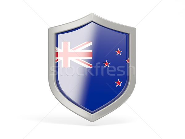 Escudo ícone bandeira Nova Zelândia isolado branco Foto stock © MikhailMishchenko