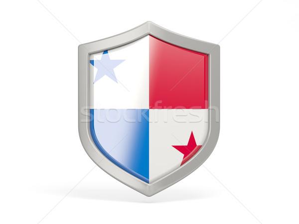 Pajzs ikon zászló Panama izolált fehér Stock fotó © MikhailMishchenko