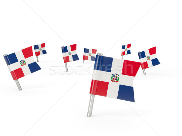 Square pins with flag of dominican republic Stock photo © MikhailMishchenko