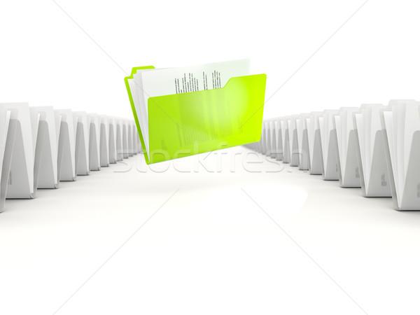 Zielone folderze rząd odizolowany biały pracy Zdjęcia stock © MikhailMishchenko
