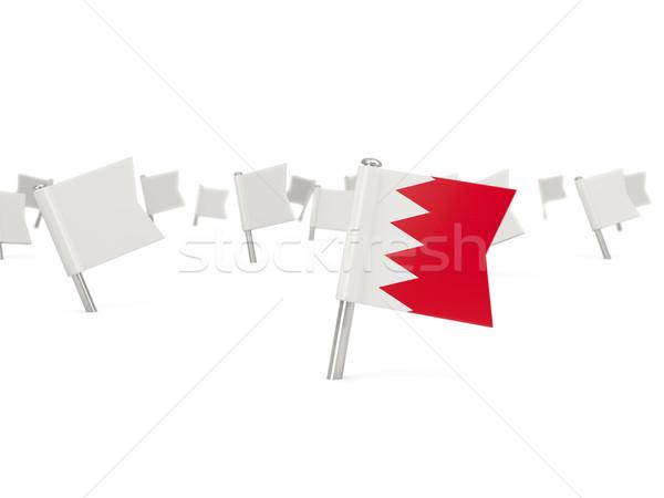 Praça pin bandeira Bahrein isolado branco Foto stock © MikhailMishchenko