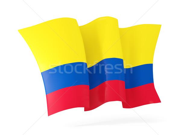 Vlag Colombia 3d illustration geïsoleerd witte Stockfoto © MikhailMishchenko