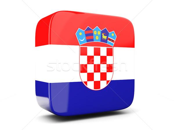 Kare ikon bayrak Hırvatistan 3d illustration yalıtılmış Stok fotoğraf © MikhailMishchenko