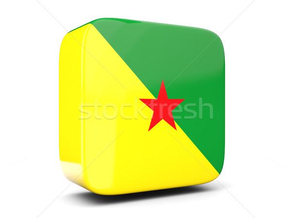 Square icon with flag of french guiana square. 3D illustration Stock photo © MikhailMishchenko
