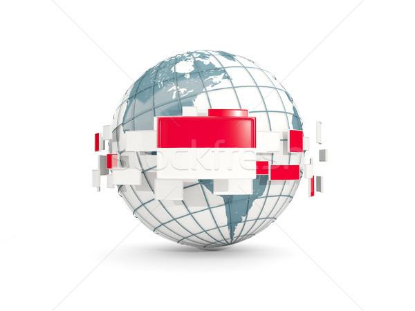 Globe with flag of indonesia isolated on white Stock photo © MikhailMishchenko