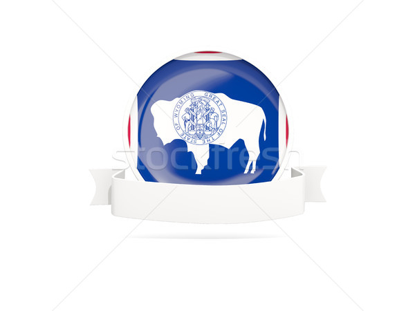 Flag of wyoming with banner, US state round icon Stock photo © MikhailMishchenko