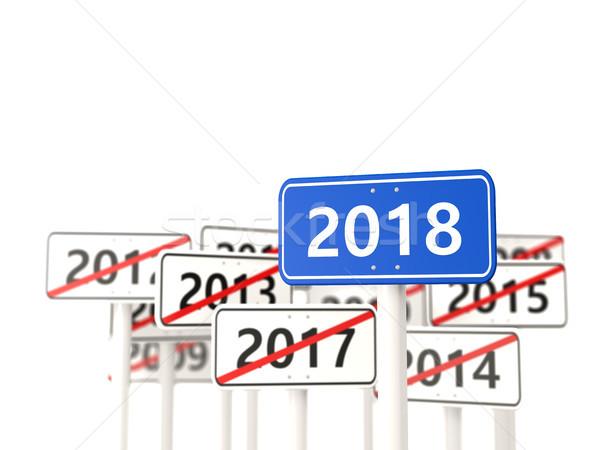 Nowy rok symbol znak drogowy 3d ilustracji podpisania niebieski Zdjęcia stock © MikhailMishchenko