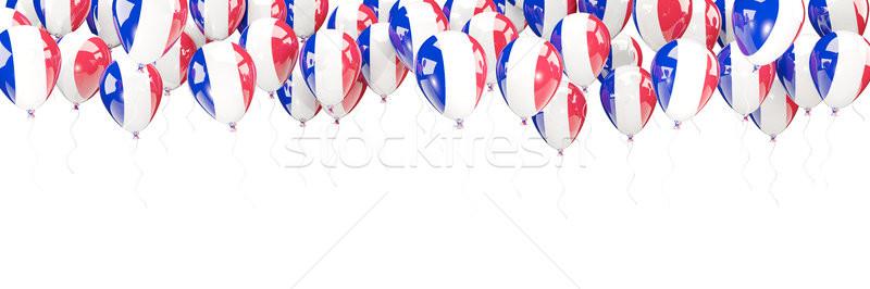 Stock fotó: Léggömbök · keret · zászló · Franciaország · izolált · fehér