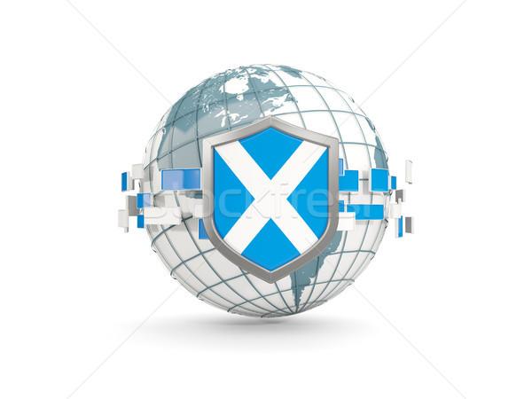 Globe and shield with flag of scotland isolated on white Stock photo © MikhailMishchenko
