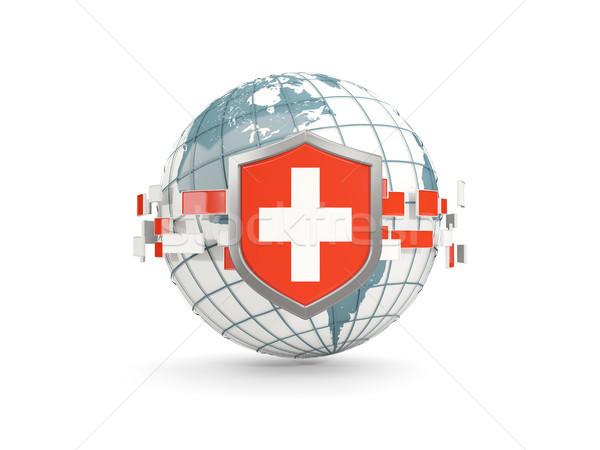 Mundo escudo bandera Suiza aislado blanco Foto stock © MikhailMishchenko