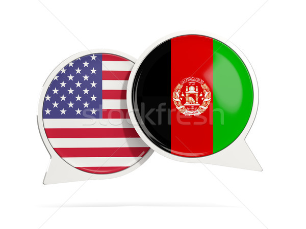 Chat bubbles of USA and Afghanistan isolated on white Stock photo © MikhailMishchenko