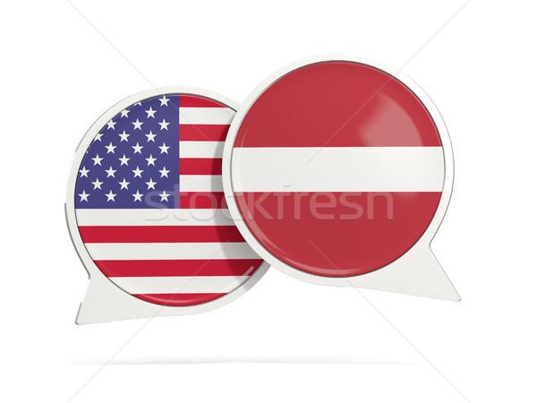 Sohbet kabarcıklar ABD Letonya yalıtılmış beyaz Stok fotoğraf © MikhailMishchenko