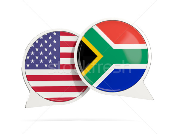 Chat bubbles of USA and South Africa isolated on white Stock photo © MikhailMishchenko
