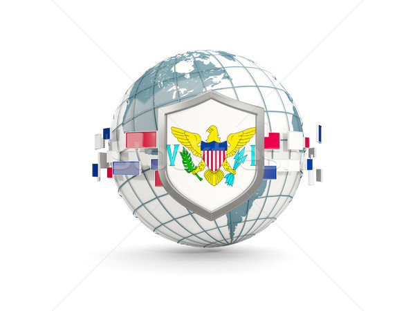 Globe and shield with flag of virgin islands us isolated on whit Stock photo © MikhailMishchenko