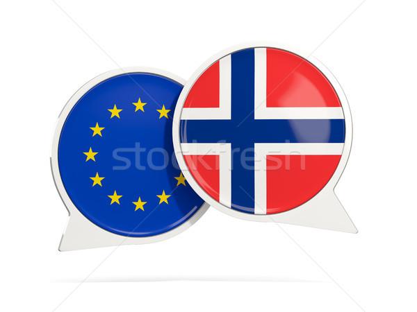 チャット 泡 eu ノルウェー 孤立した 白 ストックフォト © MikhailMishchenko