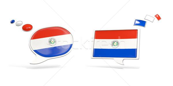 Dwa chat ikona banderą Paragwaj placu Zdjęcia stock © MikhailMishchenko