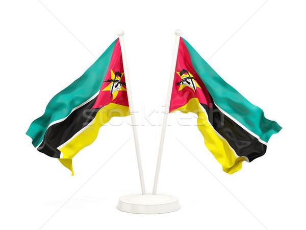 Due bandiere Mozambico isolato bianco Foto d'archivio © MikhailMishchenko