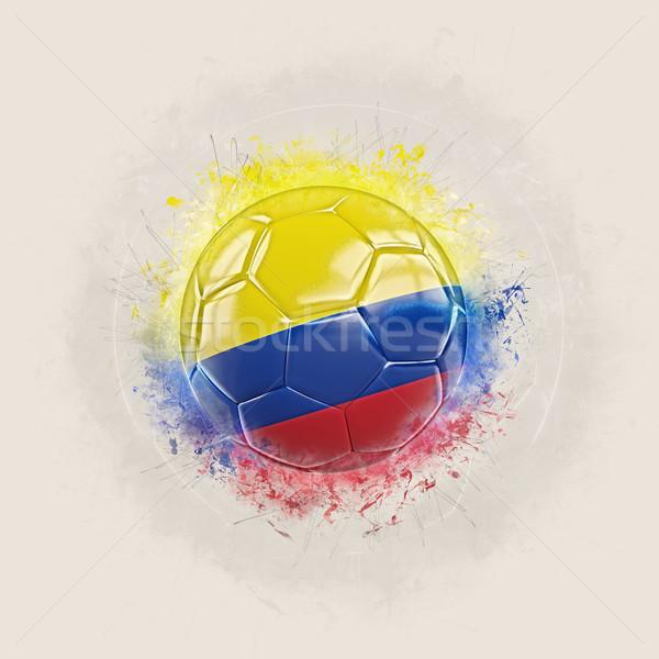 Grunge voetbal vlag Colombia 3d illustration wereld Stockfoto © MikhailMishchenko