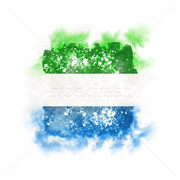 Square grunge flag of sierra leone Stock photo © MikhailMishchenko
