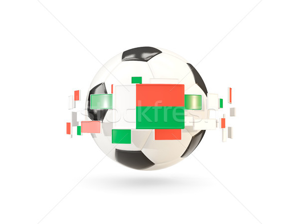Soccer ball with line of flags. Flag of madagascar Stock photo © MikhailMishchenko
