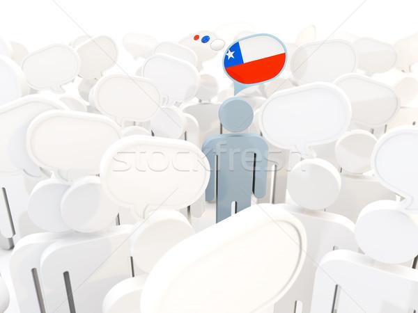 Homem bandeira Chile multidão ilustração 3d assinar Foto stock © MikhailMishchenko