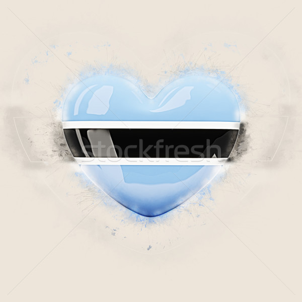 Coeur pavillon Botswana grunge 3d illustration Voyage Photo stock © MikhailMishchenko