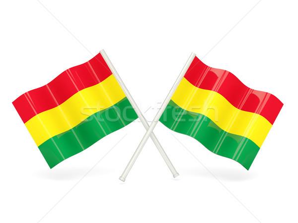 флаг Боливия два волнистый флагами изолированный Сток-фото © MikhailMishchenko