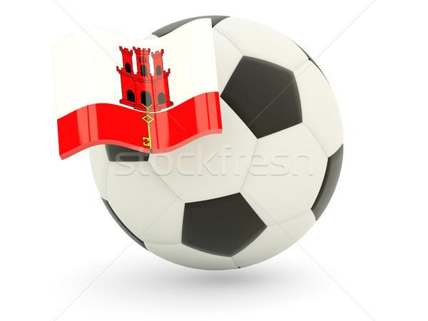 Piłka nożna banderą gibraltar odizolowany biały sportu Zdjęcia stock © MikhailMishchenko
