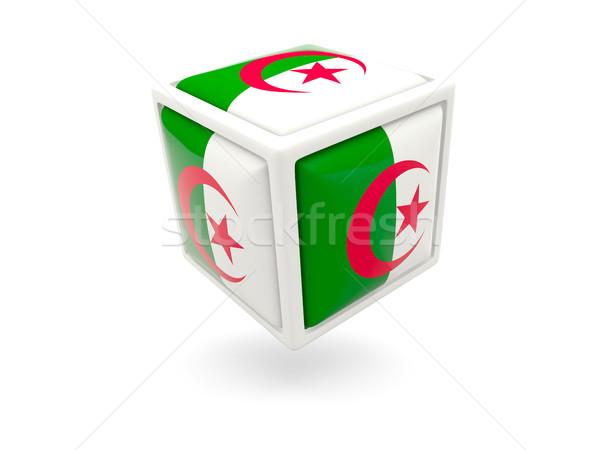 Pavillon Algérie cube icône isolé blanche Photo stock © MikhailMishchenko