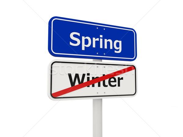 Voorjaar verkeersbord geïsoleerd witte vakantie koud Stockfoto © MikhailMishchenko