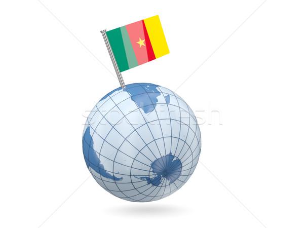 świecie banderą Kamerun niebieski odizolowany biały Zdjęcia stock © MikhailMishchenko