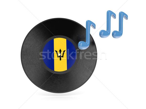 Vinyl schijf vlag Barbados geïsoleerd witte Stockfoto © MikhailMishchenko