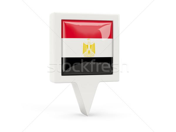 квадратный флаг икона Египет изолированный белый Сток-фото © MikhailMishchenko