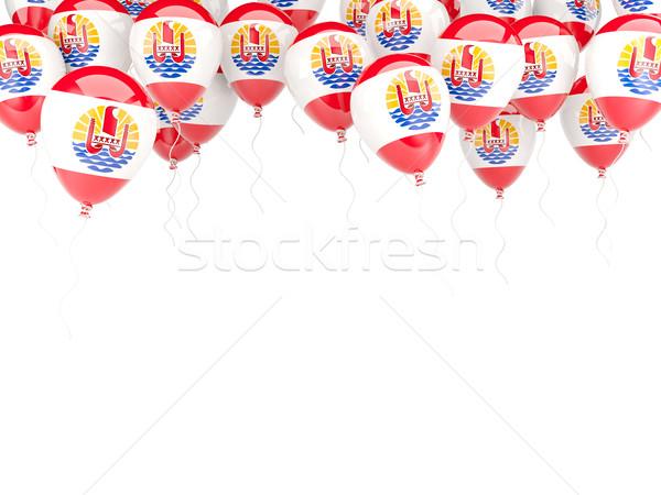 Stok fotoğraf: Balon · çerçeve · bayrak · fransız · polinezya · yalıtılmış