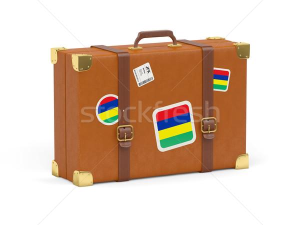 Walizkę banderą Mauritius podróży odizolowany biały Zdjęcia stock © MikhailMishchenko