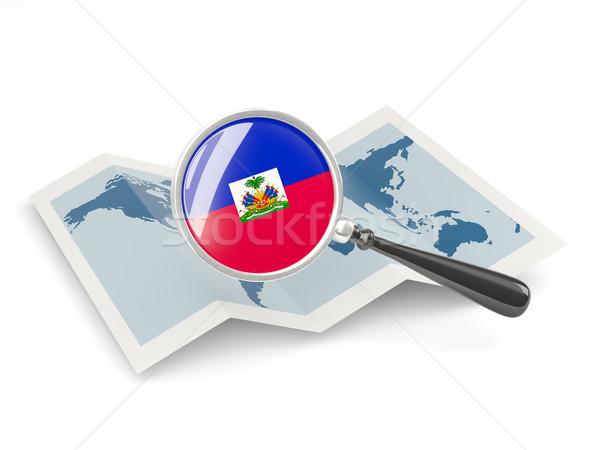 拡大された フラグ ハイチ 地図 旅行 ストックフォト © MikhailMishchenko