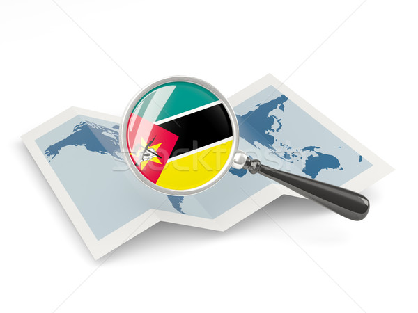 Magnified flag of mozambique with map Stock photo © MikhailMishchenko
